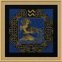Zodiac Sign Aquarius Counted Cross Stitch Kit Riolis