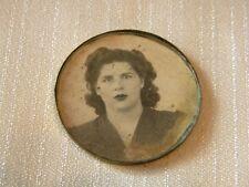 Young Lady Art Deco Antique Metal Plaque Photo