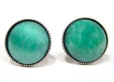 SoHo® Ohrstecker vintage altsilber bohemia jade grün 1960´s handgemachtes Glas