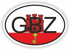 OVAL FLAG WITH GBZ GIBRALTAR COUNTRY CODE STICKER CAR MOTOCYCLE AUTO TRUCK
