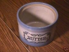 Old Blue & White Stoneware Butter Crock