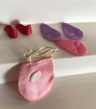 Vintage Barbie Doll Shoes Slippers Red Leather Spa Slippers Pink Satin Purse