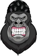 "Cartoon Angry Gorilla Head Skull Mascot Car Bumper Sticker Decal 4"" x 5"""