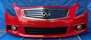 10-13 INFINITI G25 G37 SEDAN FRONT BUMPER COVER ASSEMBLY RED (A54) # MR3-FRS516