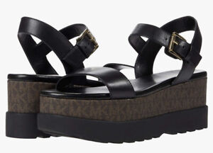 New MICHAEL Michael Kors  Marlon Black/brown monogram Platform Sandals Size 9,5