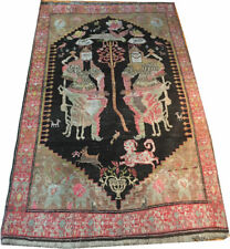 An Interesting  Dated Antique Pictorial Caucasian Karabagh Rug CA 1911