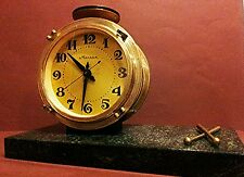 Vintage Collectible MOLNIJA DRUM USSR Mechanical Marble Desktop Clock МОЛНИЯ