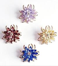WOMEN'S BROOCH FLOWER Vintage Diamante Style Lilac Sapphire Blue Champagne Rose'