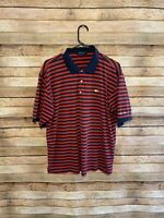 Masters Collection Mens Short Sleeve Navy Red Striped Polo Shirt Golf Large EUC