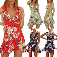Women Plunge V Neck Floral Dress Sleeveless Wrap Frill Short Mini Beach Sundress