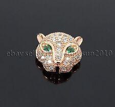 Zircon Gemstones Pave Leopard Head Bracelet Connector Charm Beads Silver Gold