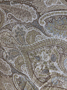 """Two Waverly Cashmere Pearl Window Curtain Panels Beige Tan Blue Paisley 50x83"""""""
