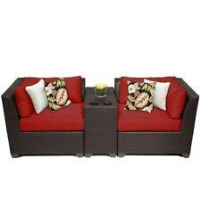 Tkc Barbados 3 Piece Outdoor Wicker Sofa Set In Terracotta