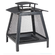 Outdoor Fireplace Backyard Patio Bowl Black Wood Burning Fire Pit Steel Chiminea