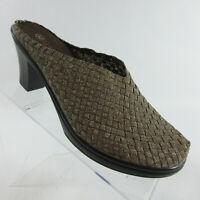 Bernie Mev Heel Gold Woven Closed Toe Mule Slide Womens Size 11-11.5/42