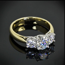 1.88 Ct 3 Three Stone Round VVS1 Moissanite Engagement Ring 14k Yellow Gold Over