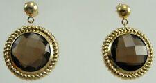 14K Yellow Gold Stud Dangle Earrings Checkerboard Cut Smoky Quartz