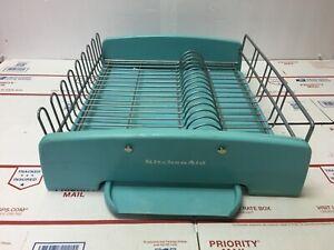 "KitchenAid Turquoise Dish Drying Sink Rack Full Size 15"" x 16"" rack w/drip pan"
