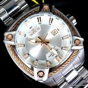 Invicta Bolt Square Rose Gold Tone Silver Tone Steel Bracelet Watch 50mm New