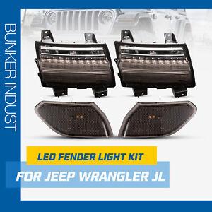 BUNKER INDUST LED Fender Light Kit Turn Signal Lights Set for Jeep Wrangler JL