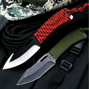 Spear Point Knife Hunting Survival Tactical Titanium Plated Cord Wrapped Handle