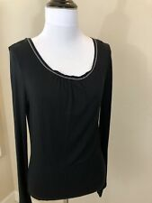 Women's ISAAC MIZRAHI For Target Black Long Sleeve Crew Neck Top - Small