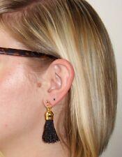 BLACK Tassle/Tassel Drop EARRINGS for Pierced Ears - G/P Post & Butterfly