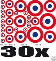Lot 30 Cocardes FRANCE sticker adhésif rond 16xØ1cm+6xØ2cm+5xØ3cm+3xØ4cm