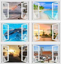 Fenster 3D Optik Wandtattoo Wandsticker Aufkleber Bild Wandbild Dekoration Motiv