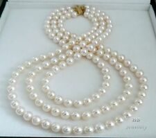 HS 8mm Triple-3-Strand Japanese Akoya Cultured Pearl Necklace 14KYG Top Grading