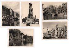 Lot 5 PHOTO ANCIENNE Bruges Belgique Canal Le Pont de Béguinage 1952 Lac Beffroi