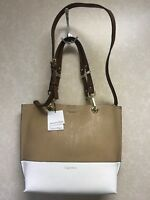 Calvin Klein Reversible One Size Tote Beige/White MSRP $148  On Sale For $69