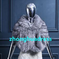 New Arrival Winter Wedding Warm Faux Fur Shawl Evening Party Jacket Shrug Wrap