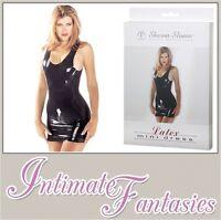 Black Latex Mini Dress Sharon Sloane Sexy Lingerie Dominatrix Size 8 10 12 14 16