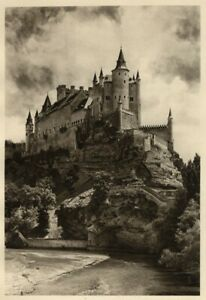 Alcazar Castle Segovia 1925 Genuine Hielscher Photogravure Spain España NW View