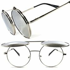 Vintage Retro Indie Silver Mirrored Steampunk Round Flip Up Django Sun Glasses