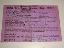 1958 New York State Citizen Resident Big Game Hunting License 387363