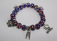 Patriotic Army Wife Charm Bracelet - Military Wife July 4th