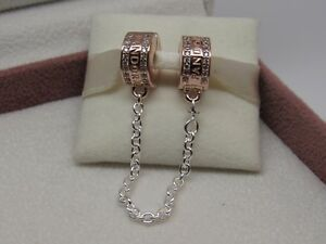 Pandora ROSE Insignia Safety Chain Charm#782057CZ-05 Box Avail Choose PROTECTION