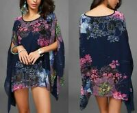 Top Batwing Sleeve Plus Size Chiffon Blouses Women Floral Printed Loose Summer S