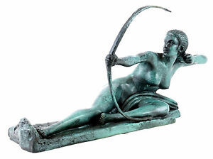 Art Déco Bronzefigur - Penthesilea - Archer Skulptur, sign. Bouraine