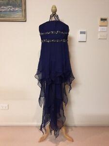 GASP La Femme Designer Formal Prom Dress Navy Corset Flowy Jewelled Sz8 RRP500