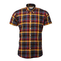 Men's Relco Grey Orange Wide Check Short Sleeve Button Down Skinhead Mod Shirt