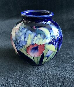 William Moorcroft signed Orchid Ball Vase
