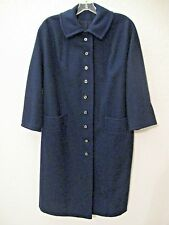 Vintage 60's Travelaire Coat Size Large Navy Blue Wool 3/4 Sleeves #7560