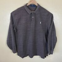 Polo Ralph Lauren Polo Shirt Mens 2XL Brown Long Sleeve Pony Logo Rugby Cotton