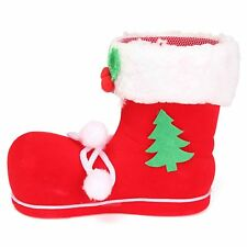 10x Christmas Xmas Flocking Red Boots Socks Candy Gift Bag For Kids Winter Decor