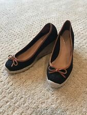 Coach Ireena Espadrilles Wedge Black Canvas Monogram Bow Shoes Size 7 Worm Once