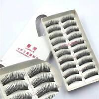 10Pairs False Lashes Handmade Natural Black Long Eyelashes Extension Eye Makeup