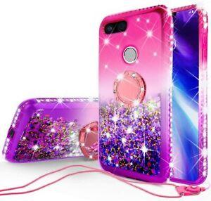 For Google Pixel 3 XL Case Glitter Liquid Phone Case Cover,Ring Stand,Neckstrap